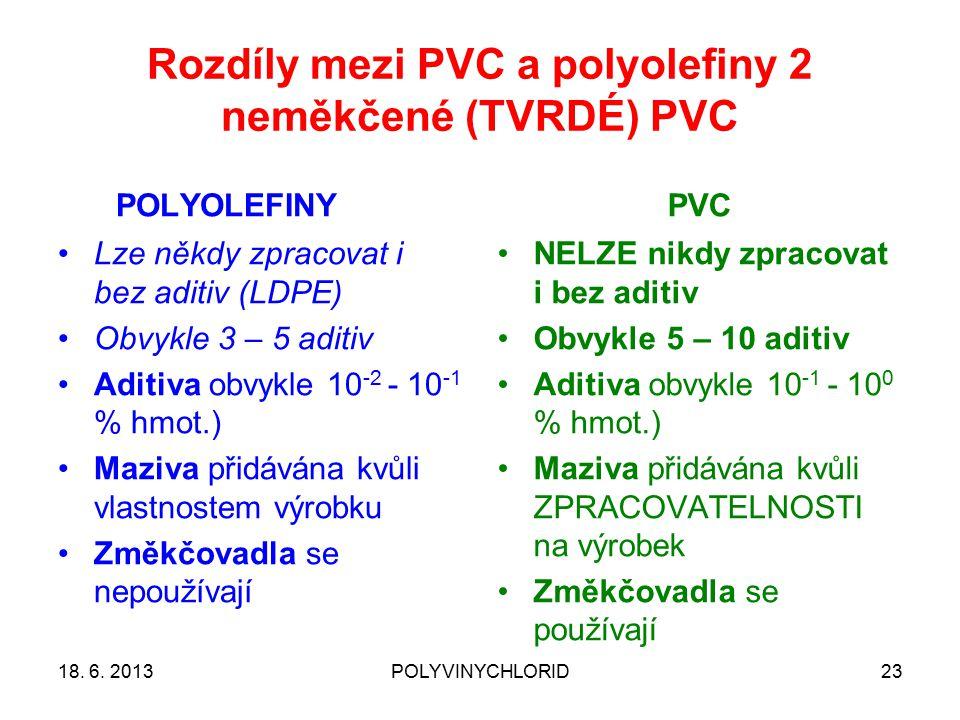 Rozdíly mezi PVC a polyolefiny 2 neměkčené (TVRDÉ) PVC POLYOLEFINYPVC 18. 6. 2013POLYVINYCHLORID23 Lze někdy zpracovat i bez aditiv (LDPE) Obvykle 3 –