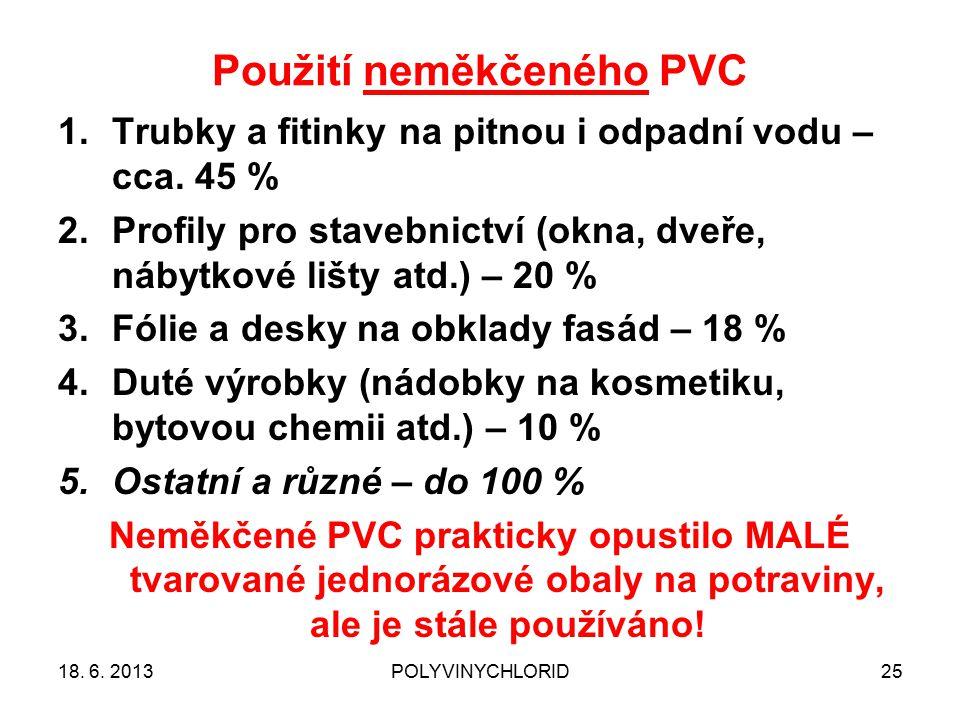 Použití neměkčeného PVC 25 1.Trubky a fitinky na pitnou i odpadní vodu – cca. 45 % 2.Profily pro stavebnictví (okna, dveře, nábytkové lišty atd.) – 20