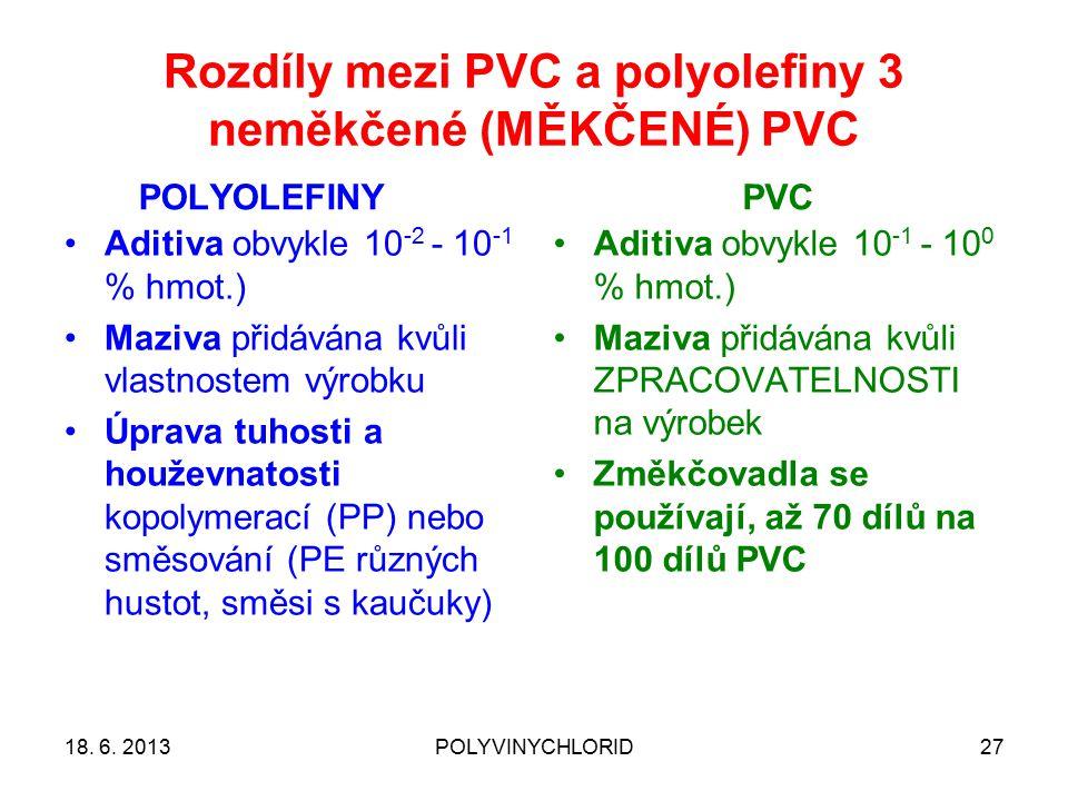 Rozdíly mezi PVC a polyolefiny 3 neměkčené (MĚKČENÉ) PVC POLYOLEFINYPVC 18. 6. 2013POLYVINYCHLORID27 Aditiva obvykle 10 -2 - 10 -1 % hmot.) Maziva při