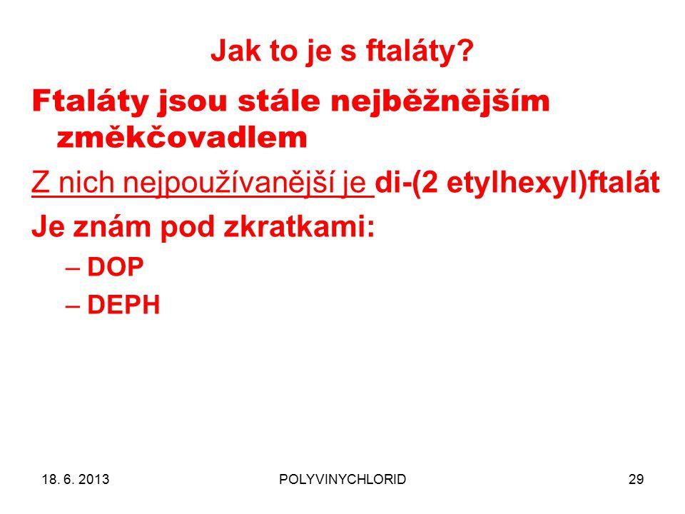 Jak to je s ftaláty? 29 Ftaláty jsou stále nejběžnějším změkčovadlem Z nich nejpoužívanější je di-(2 etylhexyl)ftalát Je znám pod zkratkami: –DOP –DEP
