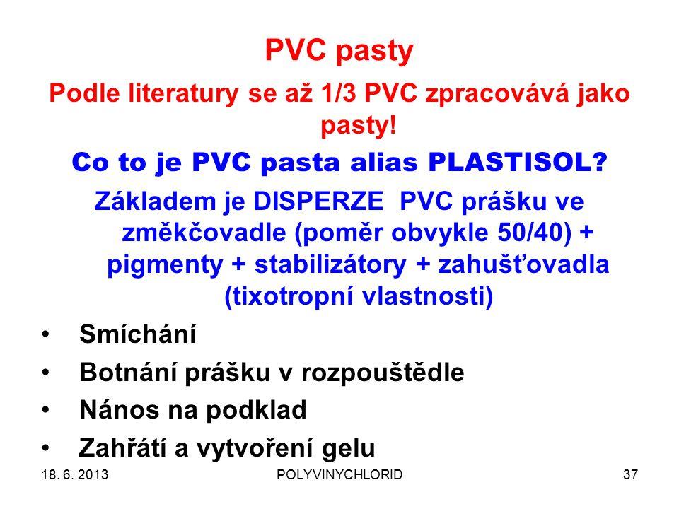 PVC pasty 37 Podle literatury se až 1/3 PVC zpracovává jako pasty! Co to je PVC pasta alias PLASTISOL? Základem je DISPERZE PVC prášku ve změkčovadle