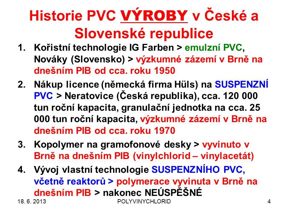 Historie PVC VÝROBY v České a Slovenské republice 4 1.Kořistní technologie IG Farben > emulzní PVC, Nováky (Slovensko) > výzkumné zázemí v Brně na dnešním PIB od cca.