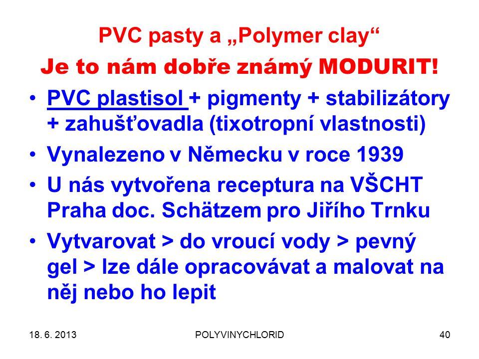 """PVC pasty a """"Polymer clay"""" 40 Je to nám dobře známý MODURIT! PVC plastisol + pigmenty + stabilizátory + zahušťovadla (tixotropní vlastnosti) Vynalezen"""