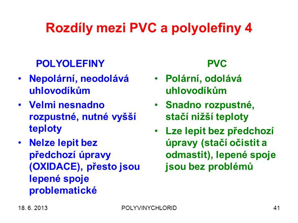 Rozdíly mezi PVC a polyolefiny 4 POLYOLEFINY Nepolární, neodolává uhlovodíkům Velmi nesnadno rozpustné, nutné vyšší teploty Nelze lepit bez předchozí