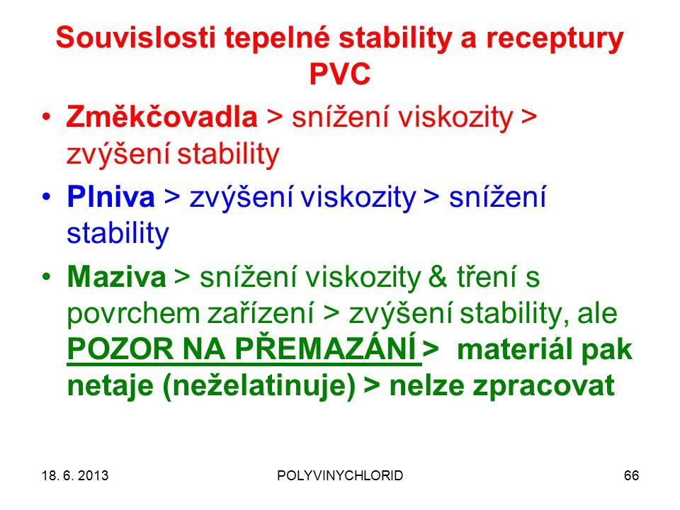 Souvislosti tepelné stability a receptury PVC 6618. 6. 2013POLYVINYCHLORID Změkčovadla > snížení viskozity > zvýšení stability Plniva > zvýšení viskoz