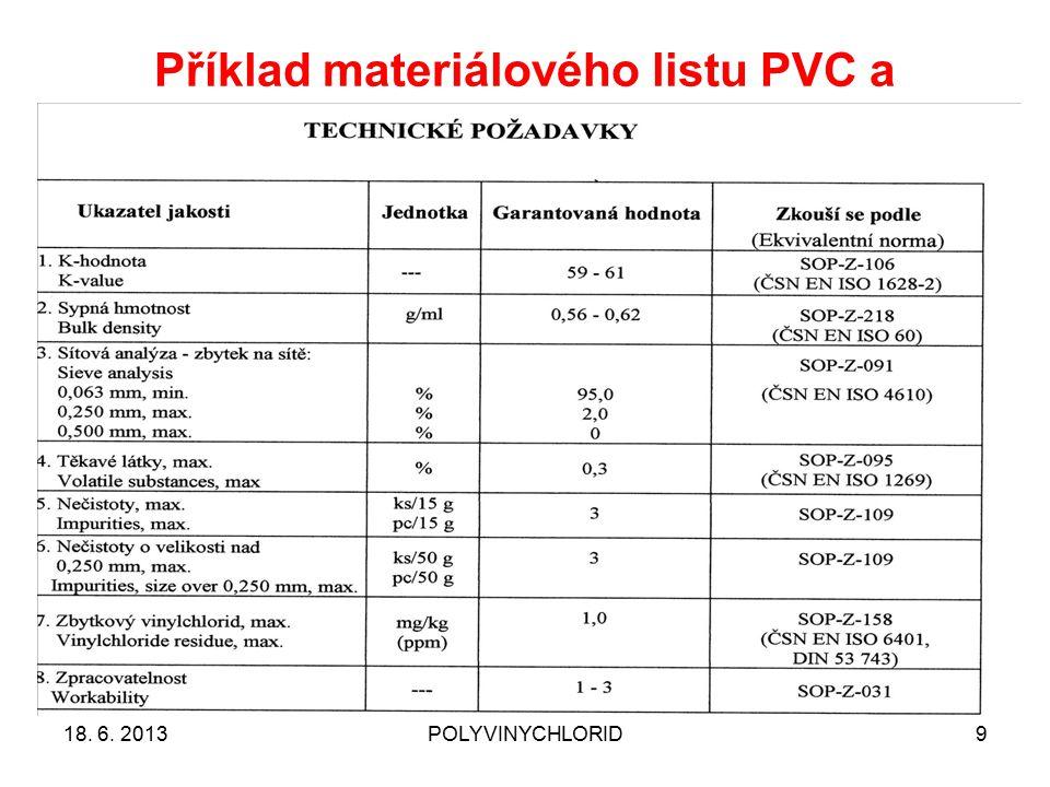 Příklad materiálového listu PVC a technických požadavků 2 18. 6. 2013POLYVINYCHLORID9