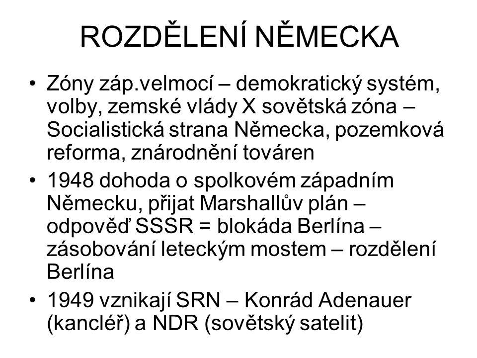 ROZDĚLENÍ NĚMECKA Zóny záp.velmocí – demokratický systém, volby, zemské vlády X sovětská zóna – Socialistická strana Německa, pozemková reforma, znáro
