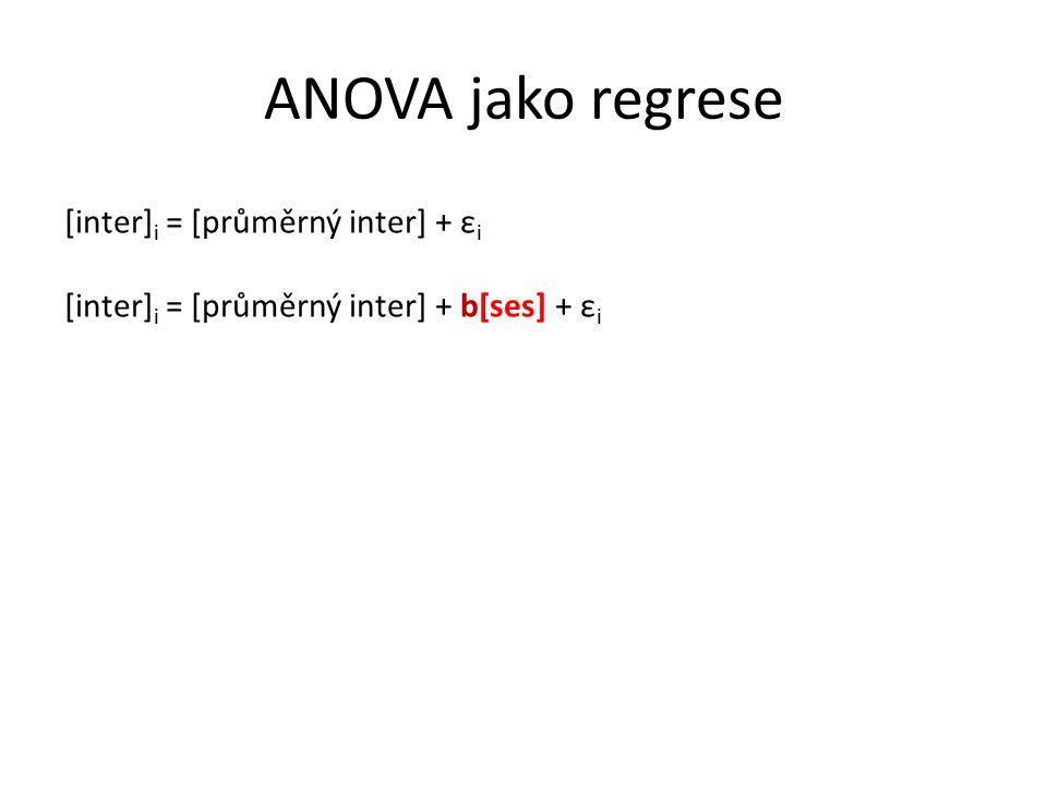 ANOVA jako regrese [inter] i = [průměrný inter] + ε i [inter] i = [průměrný inter] + b[ses] + ε i