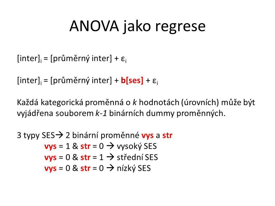 ANOVA jako regrese [inter] i = [průměrný inter] + ε i [inter] i = [průměrný inter] + b[ses] + ε i Každá kategorická proměnná o k hodnotách (úrovních) může být vyjádřena souborem k-1 binárních dummy proměnných.