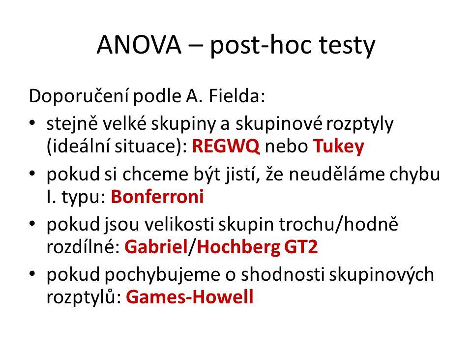 ANOVA – post-hoc testy Doporučení podle A. Fielda: stejně velké skupiny a skupinové rozptyly (ideální situace): REGWQ nebo Tukey pokud si chceme být j