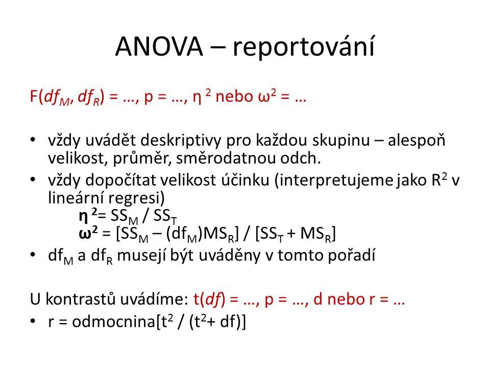 ANOVA – reportování F(df M, df R ) = …, p = …, η 2 nebo ω 2 = … vždy uvádět deskriptivy pro každou skupinu – alespoň velikost, průměr, směrodatnou odch.