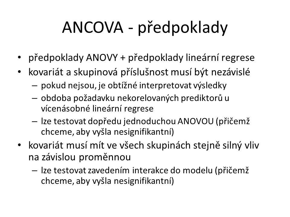 ANCOVA - předpoklady předpoklady ANOVY + předpoklady lineární regrese kovariát a skupinová příslušnost musí být nezávislé – pokud nejsou, je obtížné interpretovat výsledky – obdoba požadavku nekorelovaných prediktorů u vícenásobné lineární regrese – lze testovat dopředu jednoduchou ANOVOU (přičemž chceme, aby vyšla nesignifikantní) kovariát musí mít ve všech skupinách stejně silný vliv na závislou proměnnou – lze testovat zavedením interakce do modelu (přičemž chceme, aby vyšla nesignifikantní)