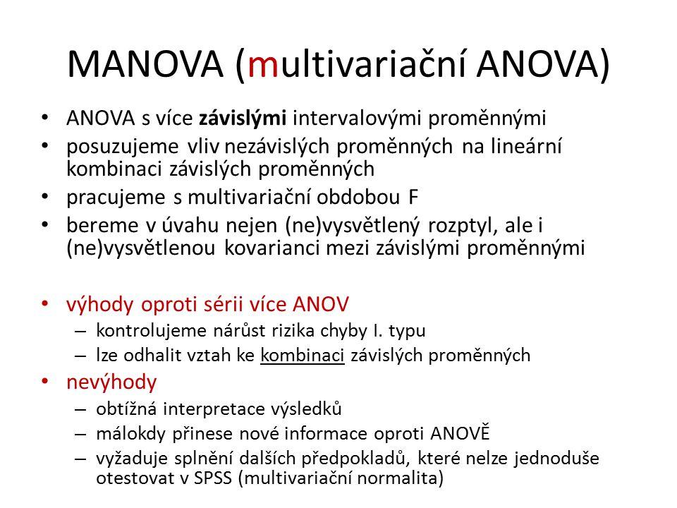 MANOVA (multivariační ANOVA) ANOVA s více závislými intervalovými proměnnými posuzujeme vliv nezávislých proměnných na lineární kombinaci závislých proměnných pracujeme s multivariační obdobou F bereme v úvahu nejen (ne)vysvětlený rozptyl, ale i (ne)vysvětlenou kovarianci mezi závislými proměnnými výhody oproti sérii více ANOV – kontrolujeme nárůst rizika chyby I.