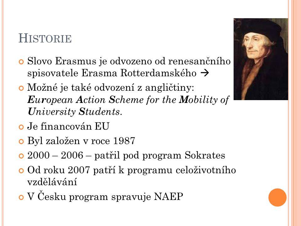 H ISTORIE Slovo Erasmus je odvozeno od renesančního spisovatele Erasma Rotterdamského  Možné je také odvození z angličtiny: E u r opean A ction S che