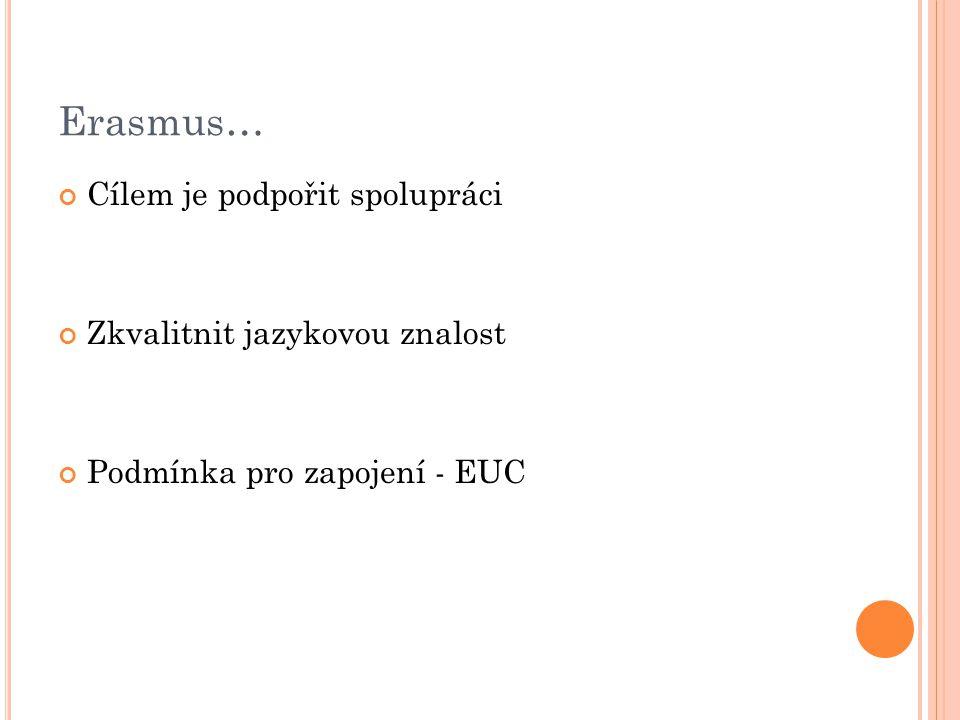Erasmus… Cílem je podpořit spolupráci Zkvalitnit jazykovou znalost Podmínka pro zapojení - EUC