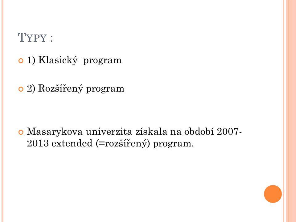 T YPY : 1) Klasický program 2) Rozšířený program Masarykova univerzita získala na období 2007- 2013 extended (=rozšířený) program.