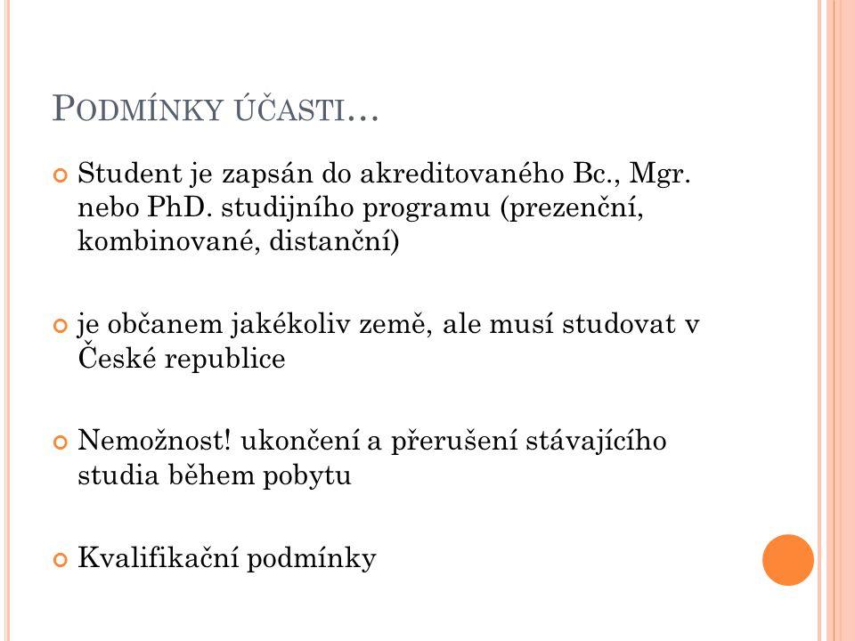 P ODMÍNKY ÚČASTI … Student je zapsán do akreditovaného Bc., Mgr. nebo PhD. studijního programu (prezenční, kombinované, distanční) je občanem jakékoli