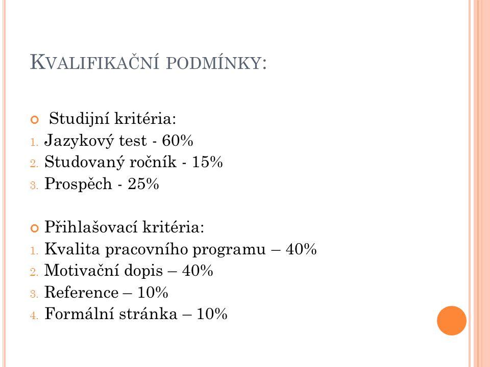 K VALIFIKAČNÍ PODMÍNKY : Studijní kritéria: 1. Jazykový test - 60% 2. Studovaný ročník - 15% 3. Prospěch - 25% Přihlašovací kritéria: 1. Kvalita praco