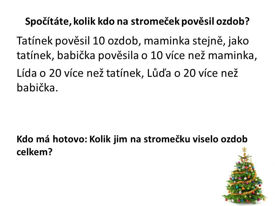 Správné řešení: tatínek 10 ozdob maminka 10 ozdob babička 10+10=20 ozdob Lída 10+20=30 ozdob Lůďa 20+20=40 ozdob Dohromady: 10+10+20+30+40= 110 ozdob Celkem jim na stromečku viselo 110 ozdob.