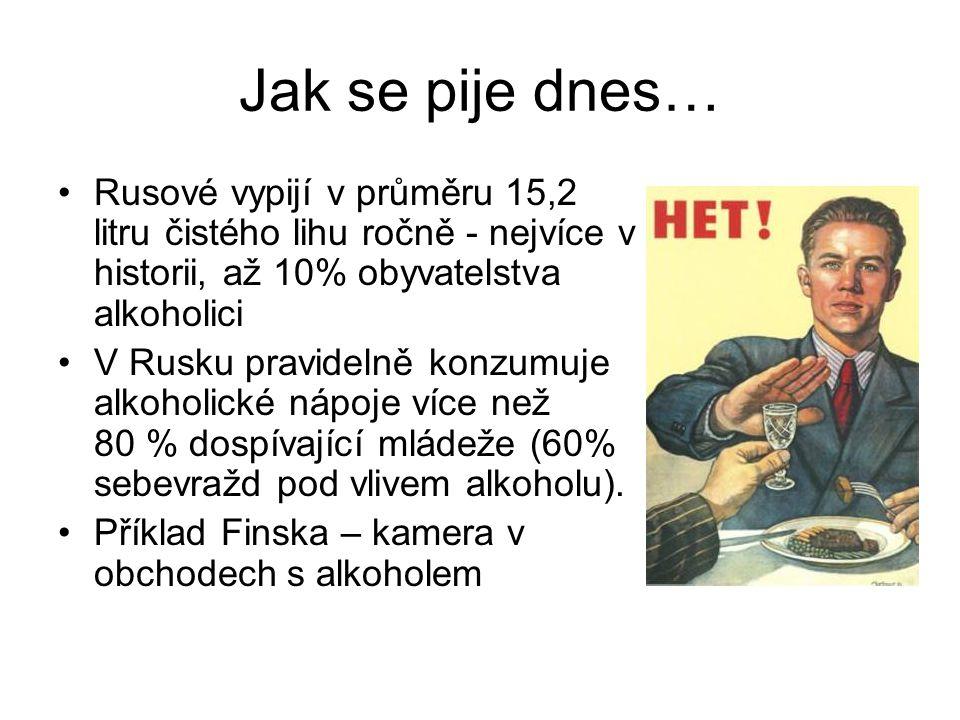 Jak se pije dnes… Rusové vypijí v průměru 15,2 litru čistého lihu ročně - nejvíce v historii, až 10% obyvatelstva alkoholici V Rusku pravidelně konzumuje alkoholické nápoje více než 80 % dospívající mládeže (60% sebevražd pod vlivem alkoholu).