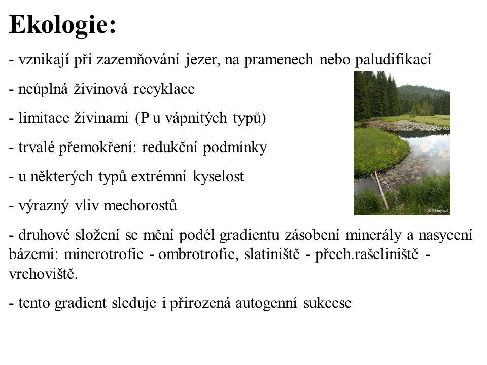 Ekologie: - vznikají při zazemňování jezer, na pramenech nebo paludifikací - neúplná živinová recyklace - limitace živinami (P u vápnitých typů) - trv