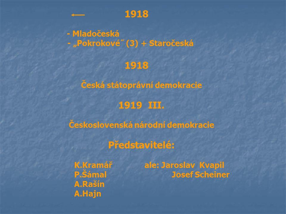 """1918 - Mladočeská - """"Pokrokové˝ (3) + Staročeská 1918 Česká státoprávní demokracie 1919 III. Československá národní demokracie Představitelé: K.Kramář"""