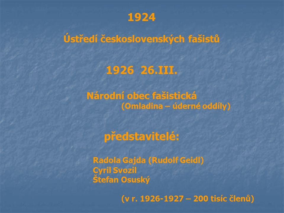 1924 Ústředí československých fašistů 1926 26.III. Národní obec fašistická (Omladina – úderné oddíly) představitelé: Radola Gajda (Rudolf Geidl) Cyril