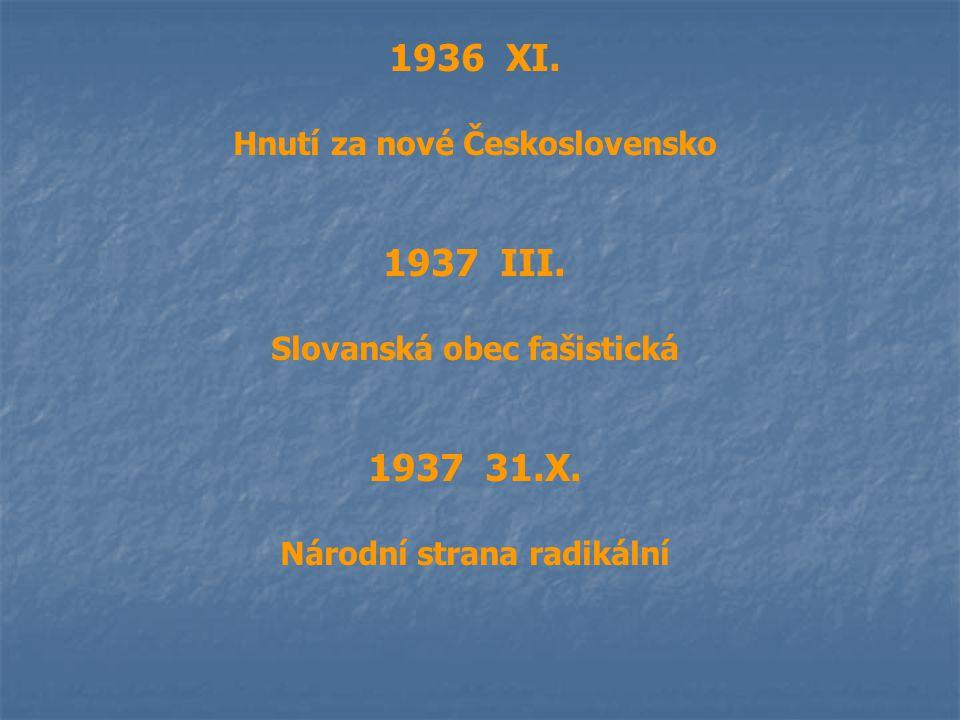1936 XI. Hnutí za nové Československo 1937 III. Slovanská obec fašistická 1937 31.X. Národní strana radikální