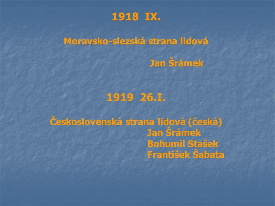 1918 IX. Moravsko-slezská strana lidová Jan Šrámek 1919 26.I. Československá strana lidová (česká) Jan Šrámek Bohumil Stašek František Šabata