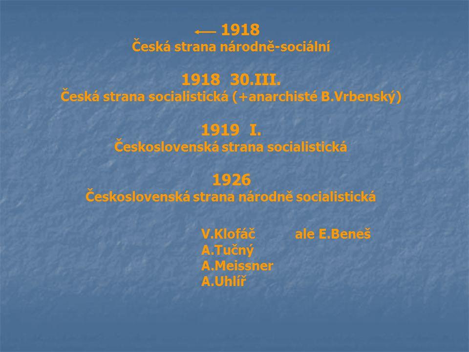 1918 Česká strana národně-sociální 1918 30.III. Česká strana socialistická (+anarchisté B.Vrbenský) 1919 I. Československá strana socialistická 1926 Č
