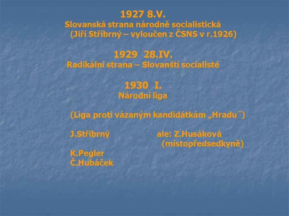 1927 8.V. Slovanská strana národně socialistická (Jiří Stříbrný – vyloučen z ČSNS v r.1926) 1929 28.IV. Radikální strana – Slovanští socialisté 1930 I