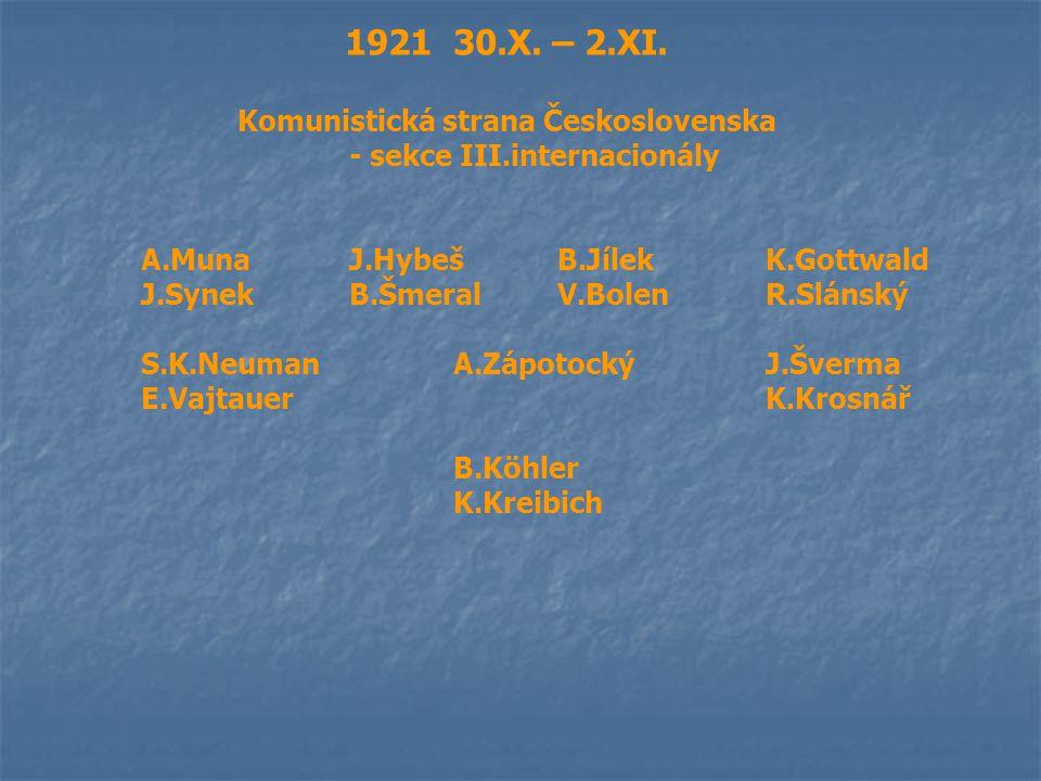 1921 30.X. – 2.XI. Komunistická strana Československa - sekce III.internacionály A.MunaJ.HybešB.JílekK.Gottwald J.SynekB.ŠmeralV.BolenR.Slánský S.K.Ne