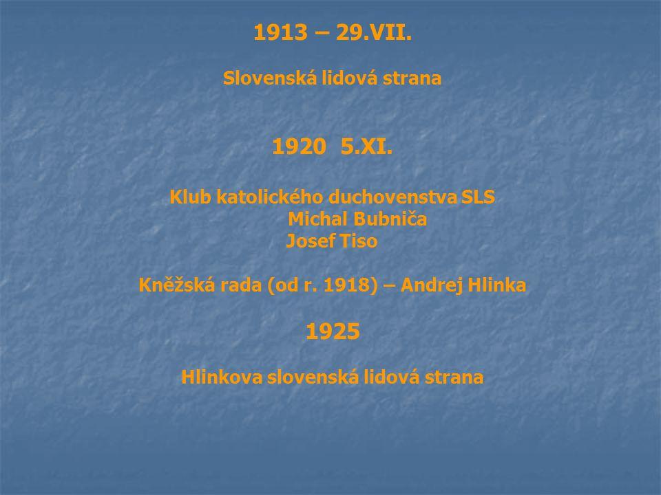 1913 – 29.VII. Slovenská lidová strana 1920 5.XI. Klub katolického duchovenstva SLS Michal Bubniča Josef Tiso Kněžská rada (od r. 1918) – Andrej Hlink