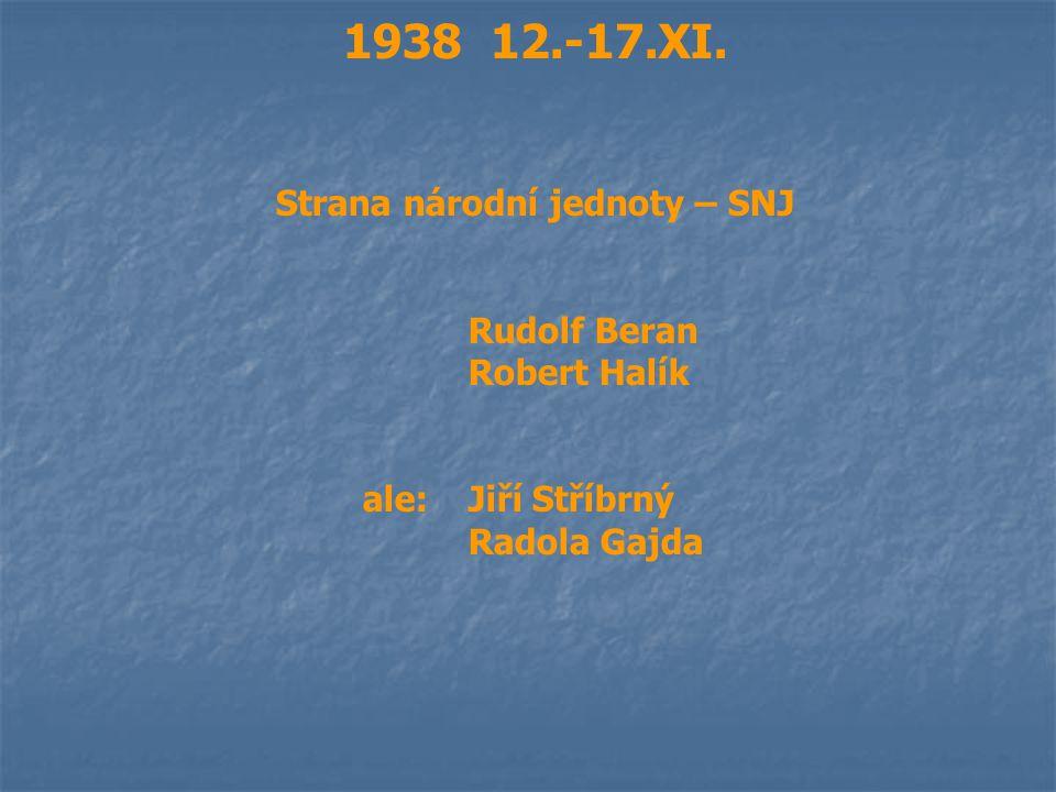 1938 12.-17.XI. Strana národní jednoty – SNJ Rudolf Beran Robert Halík ale:Jiří Stříbrný Radola Gajda