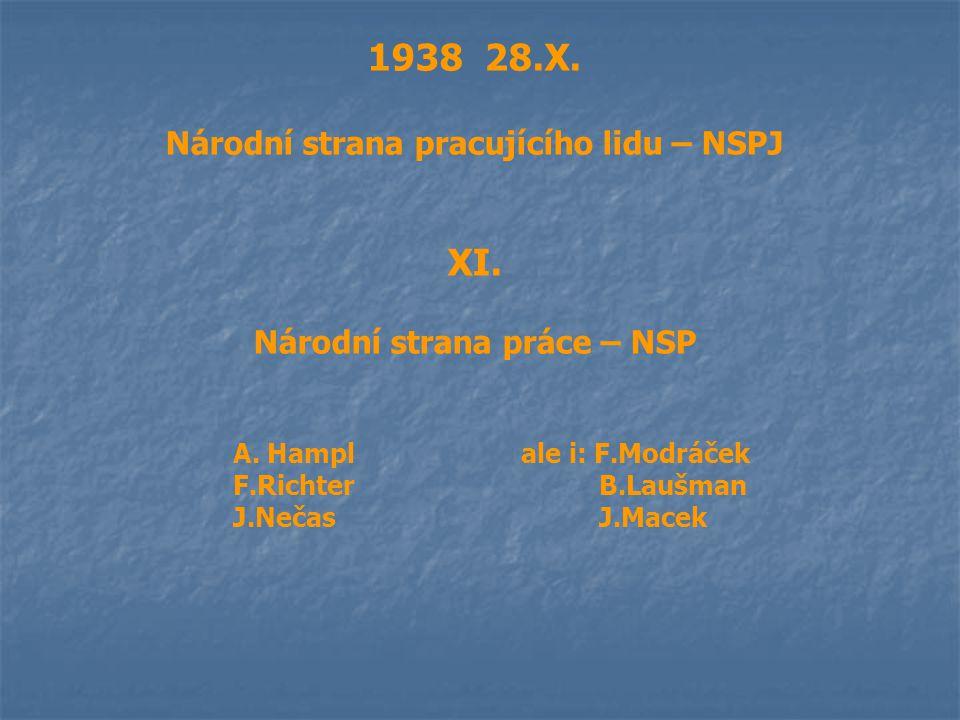 1938 28.X. Národní strana pracujícího lidu – NSPJ XI. Národní strana práce – NSP A. Hamplale i: F.Modráček F.Richter B.Laušman J.Nečas J.Macek