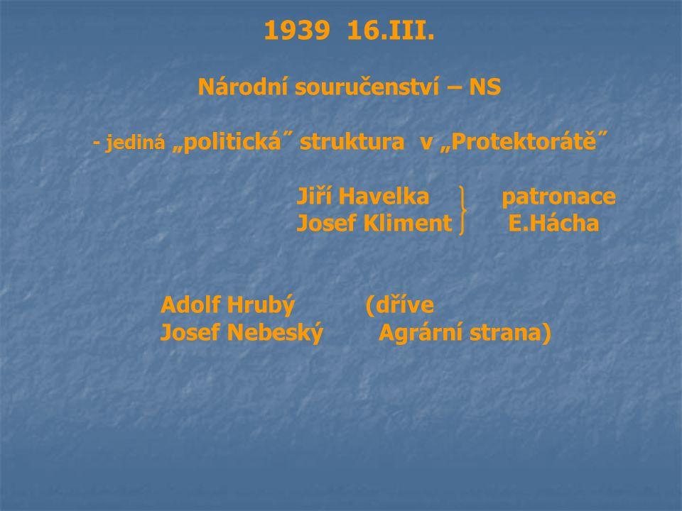 """1939 16.III. Národní souručenství – NS - jediná """"politická˝ struktura v """"Protektorátě˝ Jiří Havelkapatronace Josef Kliment E.Hácha Adolf Hrubý(dříve J"""