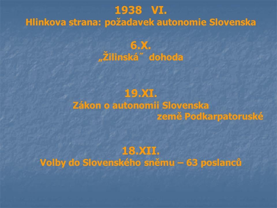 "1938 VI. Hlinkova strana: požadavek autonomie Slovenska 6.X. ""Žilinská˝ dohoda 19.XI. Zákon o autonomii Slovenska země Podkarpatoruské 18.XII. Volby d"