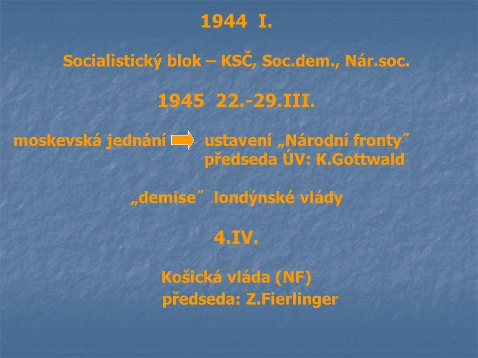 """1944 I. Socialistický blok – KSČ, Soc.dem., Nár.soc. 1945 22.-29.III. moskevská jednáníustavení """"Národní fronty˝ předseda ÚV: K.Gottwald """"demise˝ lond"""