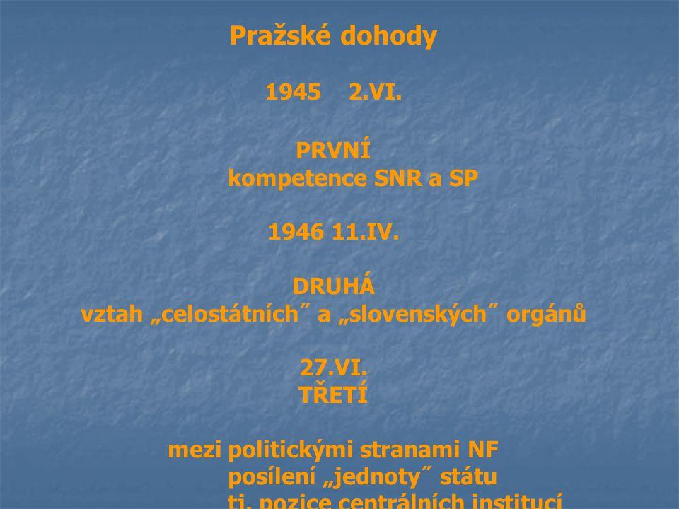 """Pražské dohody 1945 2.VI. PRVNÍ kompetence SNR a SP 1946 11.IV. DRUHÁ vztah """"celostátních˝ a """"slovenských˝ orgánů 27.VI. TŘETÍ mezi politickými strana"""