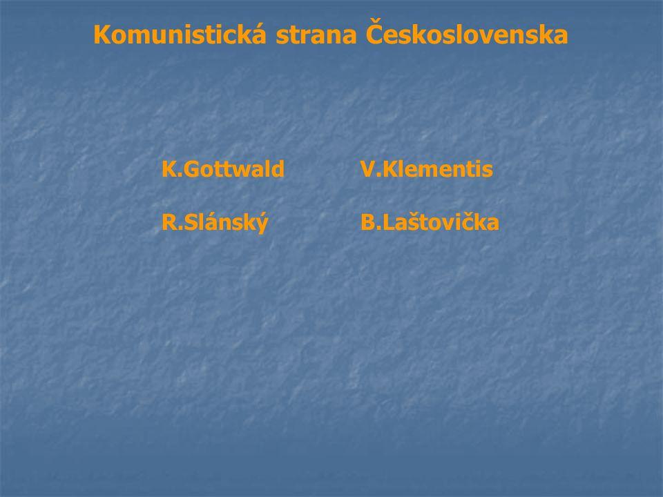 Komunistická strana Československa K.GottwaldV.Klementis R.SlánskýB.Laštovička