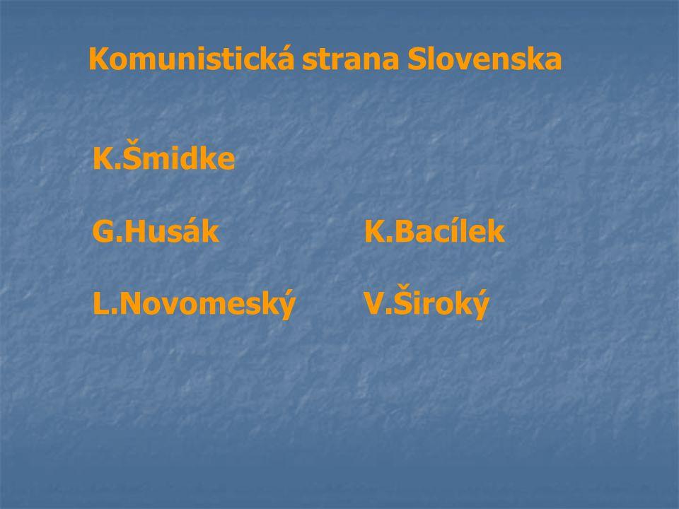 Komunistická strana Slovenska K.Šmidke G.HusákK.Bacílek L.NovomeskýV.Široký