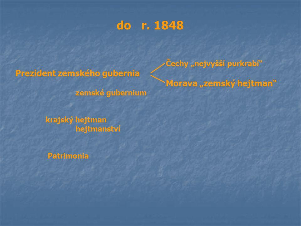 """do r. 1848 Čechy """"nejvyšší purkrabí"""" Prezident zemského gubernia Morava """"zemský hejtman"""" zemské gubernium krajský hejtman hejtmanství Patrimonia"""