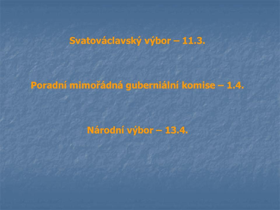 Svatováclavský výbor – 11.3. Poradní mimořádná guberniální komise – 1.4. Národní výbor – 13.4.