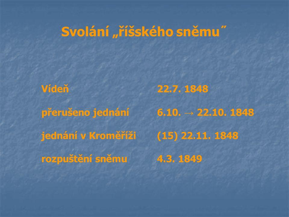"""Svolání """"říšského sněmu˝ Vídeň22.7. 1848 přerušeno jednání6.10. → 22.10. 1848 jednání v Kroměříži(15) 22.11. 1848 rozpuštění sněmu4.3. 1849"""