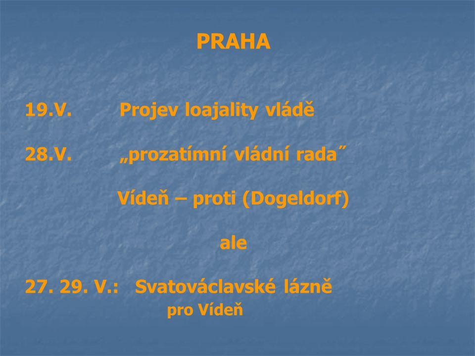 """PRAHA 19.V.Projev loajality vládě 28.V.""""prozatímní vládní rada˝ Vídeň – proti (Dogeldorf) ale 27. 29. V.: Svatováclavské lázně pro Vídeň"""