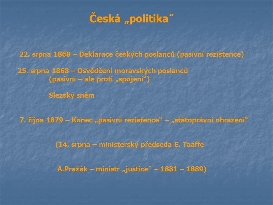 """Česká """"politika˝ 22. srpna 1868 – Deklarace českých poslanců (pasivní rezistence) 25. srpna 1868 – Osvědčení moravských poslanců (pasivní – ale proti"""