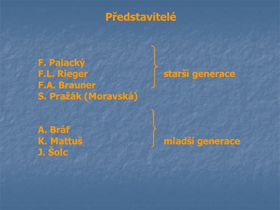 Představitelé F. Palacký F.L. Rieger starší generace F.A. Brauner S. Pražák (Moravská) A. Bráf K. Mattuš mladší generace J. Šolc