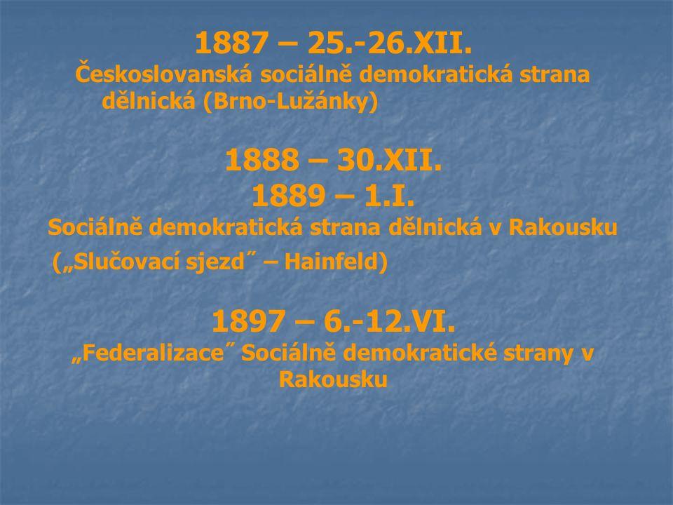 1887 – 25.-26.XII. Českoslovanská sociálně demokratická strana dělnická (Brno-Lužánky) 1888 – 30.XII. 1889 – 1.I. Sociálně demokratická strana dělnick