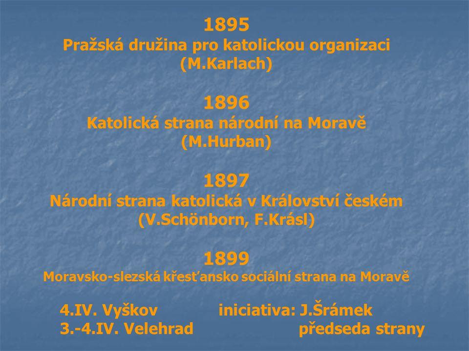 1895 Pražská družina pro katolickou organizaci (M.Karlach) 1896 Katolická strana národní na Moravě (M.Hurban) 1897 Národní strana katolická v Královst