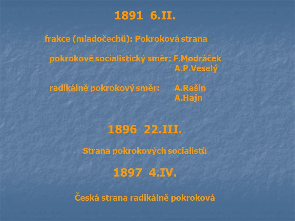 1891 6.II. frakce (mladočechů): Pokroková strana pokrokově socialistický směr: F.Modráček A.P.Veselý radikálně pokrokový směr: A.Rašín A.Hajn 1896 22.